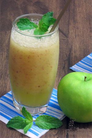 Refrescante!! Assim é esse suco de maçã com hortelã...